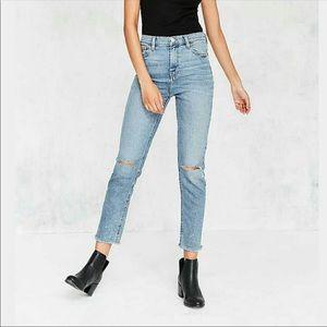 BDG Girlfriend Distressed High Rise Crop Jeans